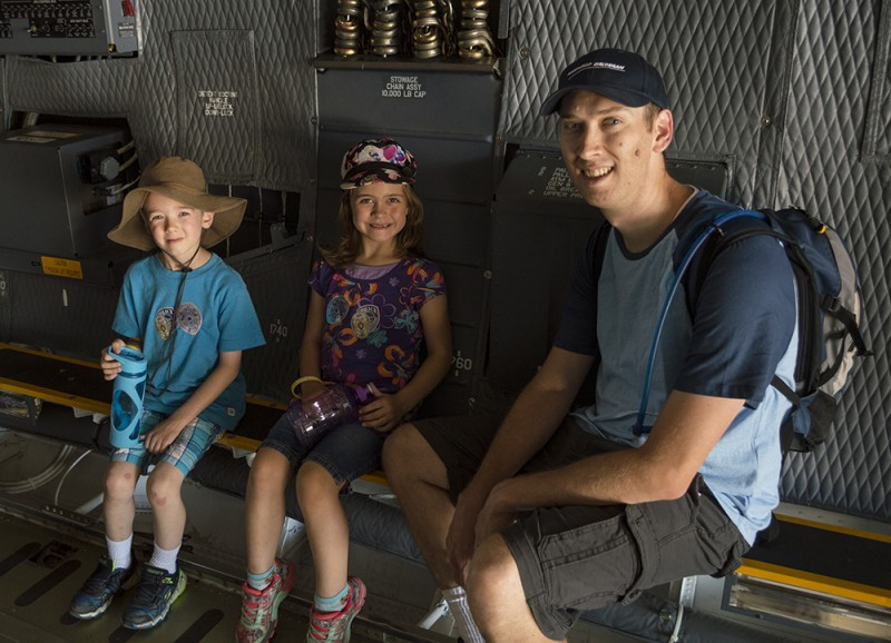 So many planes, so little time! Here we are in one of the big planes at the Hill Air Force Base Air Show