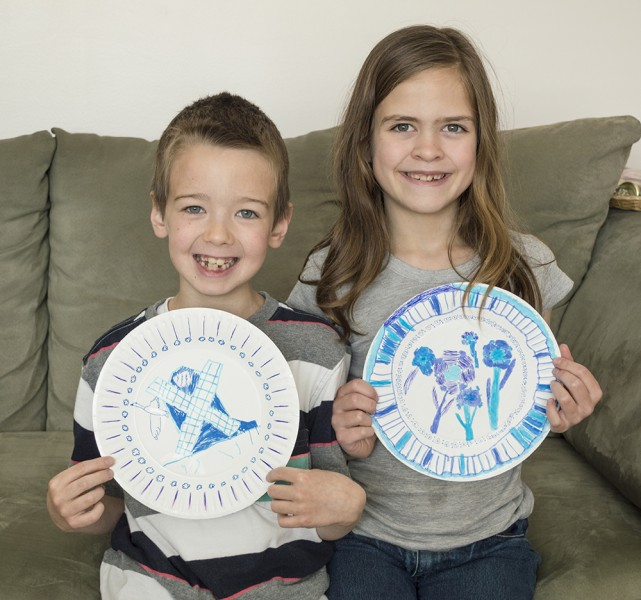 """Art projects are fun for both our kids. Here is some """"Delftware"""" they made from paper plates."""