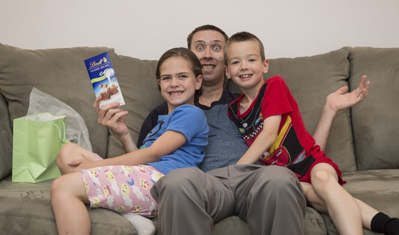 """Nothing says """"I Love You!"""" like a nice bar of chocolate for Father's Day. The kids also helped create a cool wooden puzzle for their dad for this occasion."""