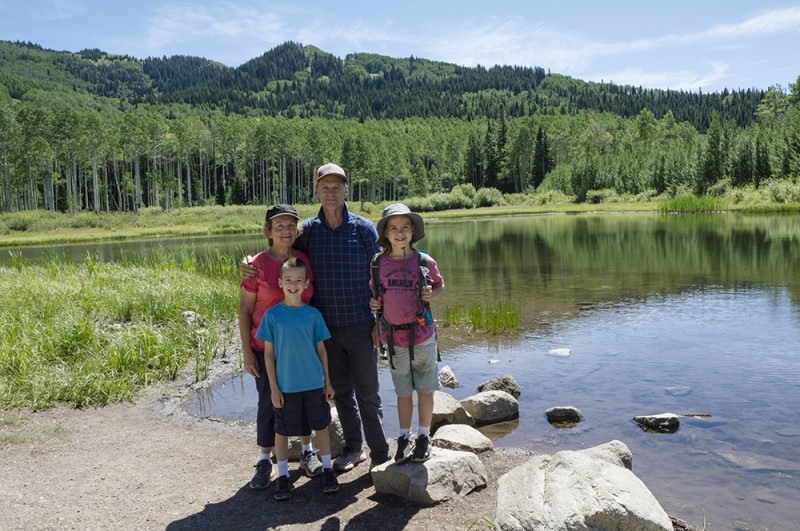 Austin and Emma on a hike to Willow Lake with their grandparents. Our kids are awesome hikers!