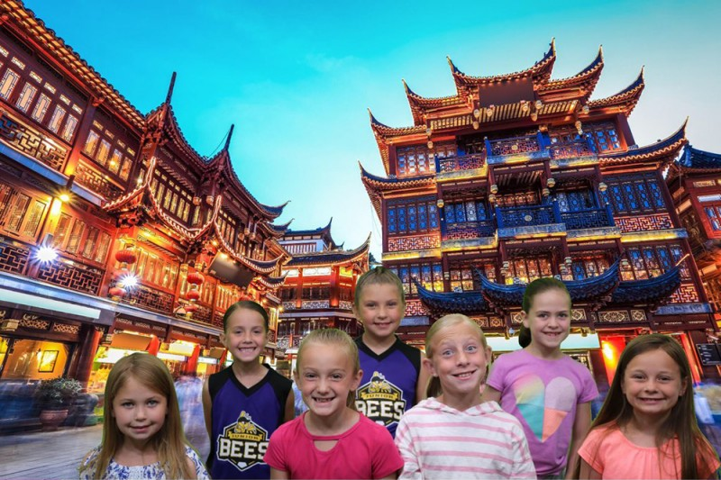 """Emma goes to activities during the week with a church group. Here the """"visited China"""" during a trip to a family history center."""