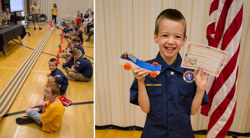 Let's Race! Here is Austin at the Pinewood Derby for Cub Scouts. He had a great time designing and painting his own car then racing it against others'!