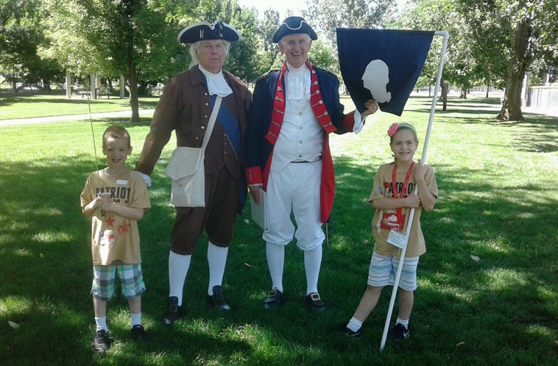 Back from the dead? Austin and Emma loved meeting George Washington and Henry Knox at Patriot day camp.