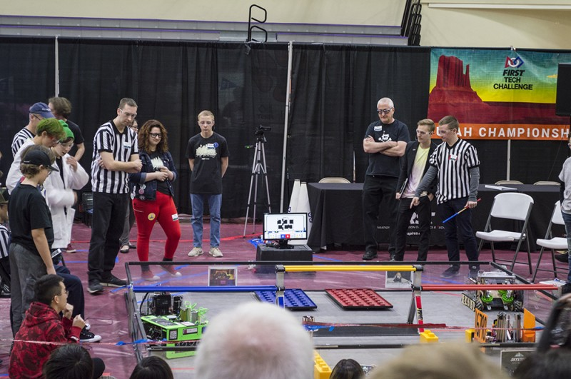 FIRST Tech Challenge is an event for student teams to create their own robots and compete with them. Nate volunteered to referee the Utah Championship, and the rest of us went to watch the competition for awhile.