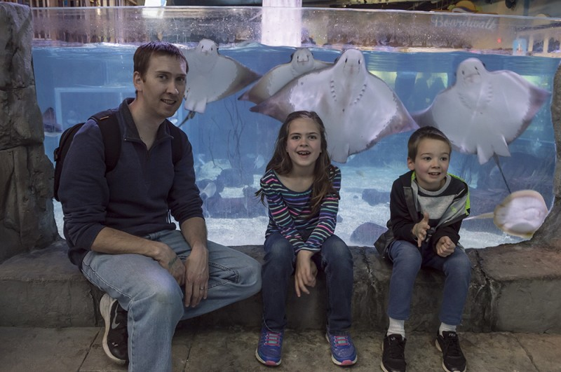 Feeding the sting rays at the aquarium was an interesting experience. The rays kindly posed for us for the photo too.
