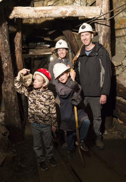 Ready to strike it rich! Here we are touring a gold mine and trying to get into the mining action ourselves.