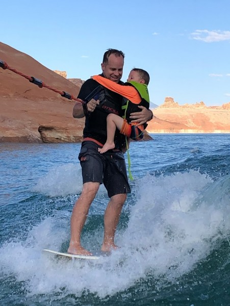 L loves surfing with Scott!  Lake Powell is our heaven on Earth.