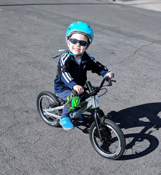 L learned how to ride a bike without training wheels when he was 2.