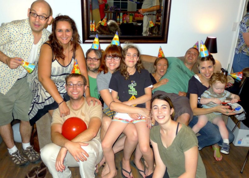 All of Ari's many cousins at a family reunion! (Yes, Ari's under there somewhere!)