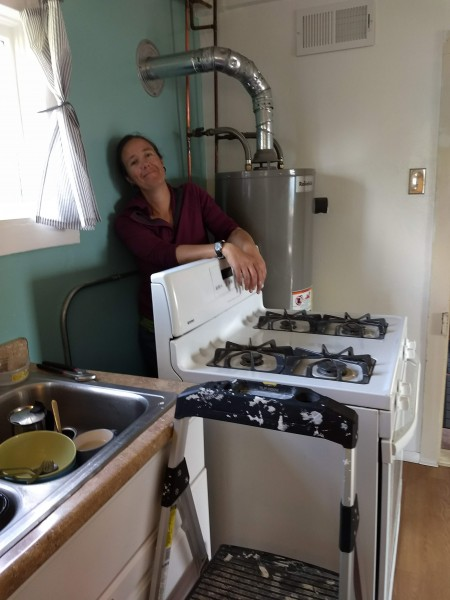 Here's Ari working on replacing the stove at our house in Colorado!