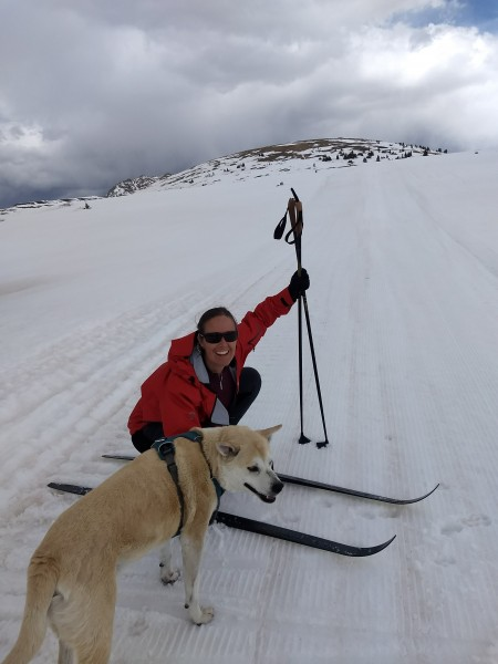 Ari skiing with our dog, Woody. He passed away last summer and we miss him a ton!