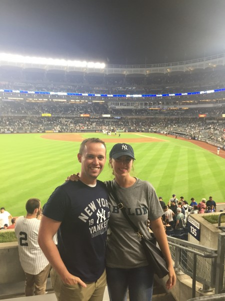 Our families are die-hard Yankees fans so here we are at a game a few years ago!
