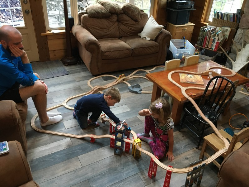 We made a cool brio train track today