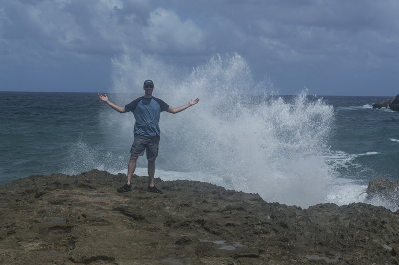 Wave crash! We loved wandering about together and watching water spray everywhere as it hit the rough rocks at Lāʻie Point State Wayside.