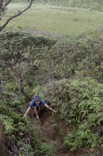 Time to climb! Many trails in Hawaii were quite steep, often requiring some enjoyable scrambles up.
