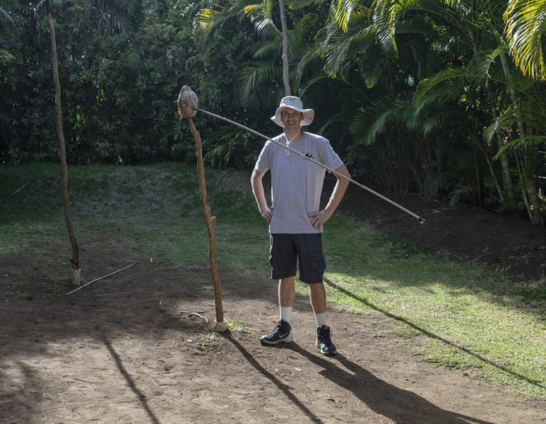 Direct Hit! While at the Polynesian Cultural Center, Nate managed to spear a coconut!
