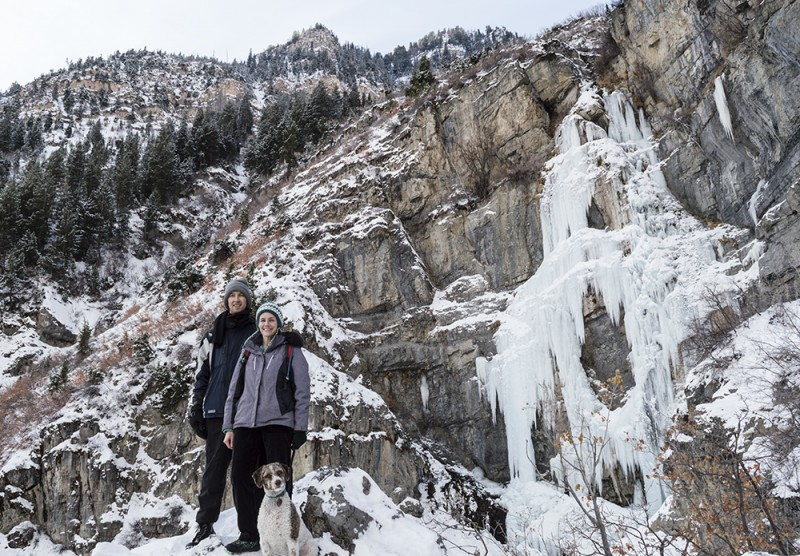 When there isn't enough snow to use snowshoes, hiking to a frozen waterfall together is still wonderful!
