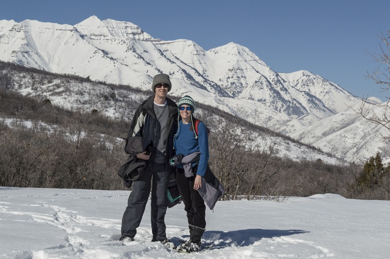 Walking in a winter wonderland together...while snowshoeing in the mountains.