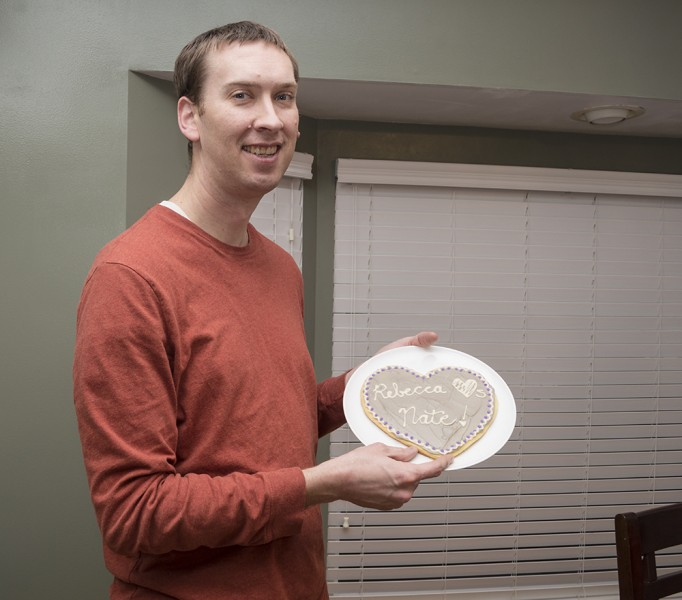 A traditional huge heart sugar cookie is one way Rebecca professes her love to Nate for Valentine's Day.
