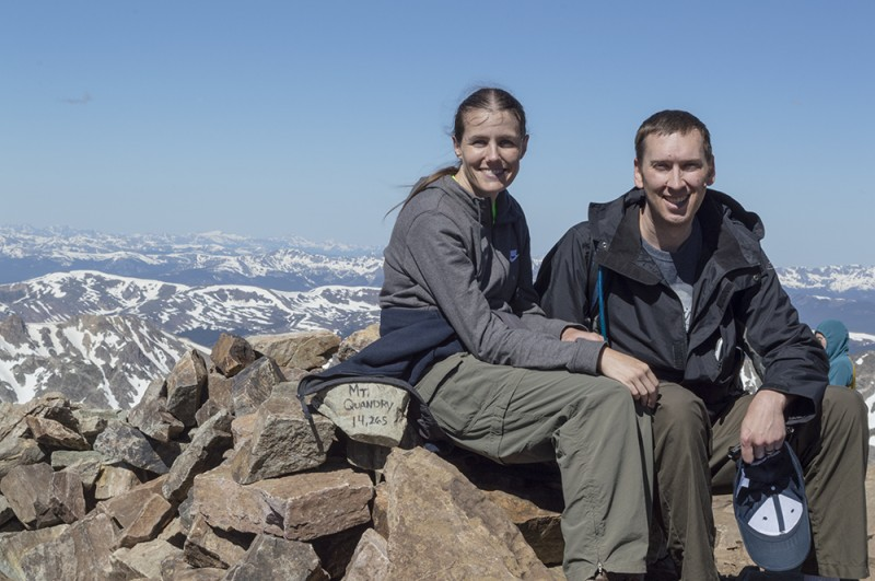 """Got Oxygen? Here we're at the top of Quandary Peak, our first """"14er"""" - a peak that's 14,000+ feet high. The view from here is incredible!"""