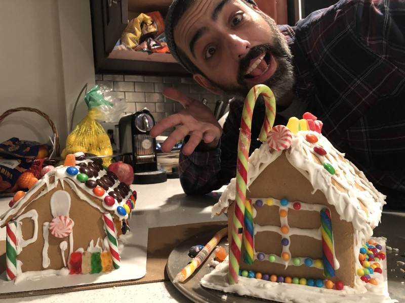 Matt showing off some holiday ginger bread houses