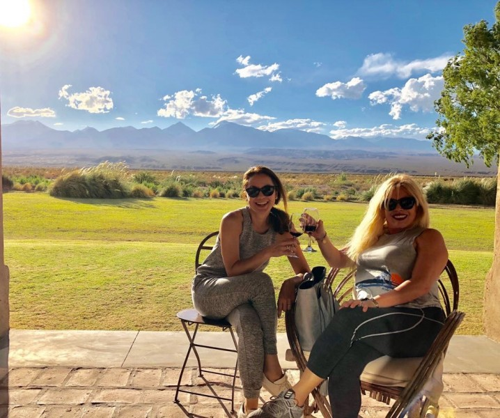 Pam agin with her mother-in-law marveling at the beauty of The Andes