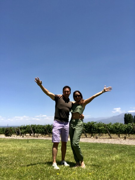 We took a tour of various vineyards. Hugo and Pam marveling at the expanse and greenery that these vineyards have to offer