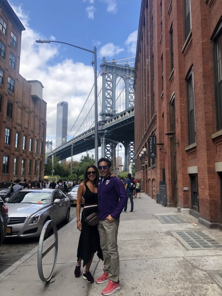 Hugo and Pam in a famous spot in Brooklyn