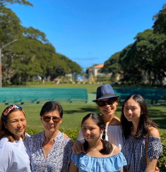Pam with her mom, sister-in-law and nieces in a beautiful city in the south of the Philippines