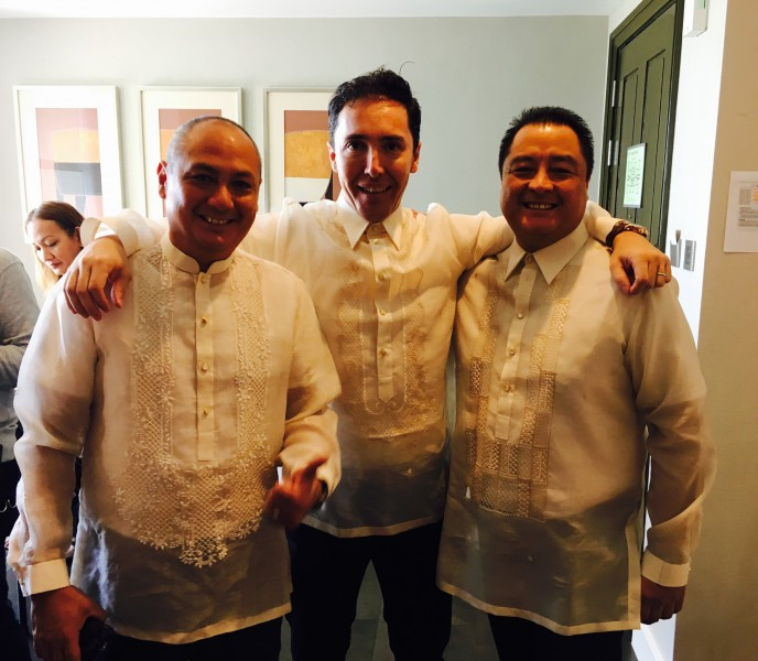 Hugo with Pam's brothers dressed in the traditional barong tagalog during the wedding of Pam's sister