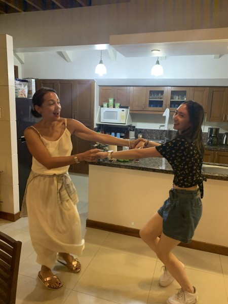 When with family we often break out into dance. Here's Pam with one of her nieces