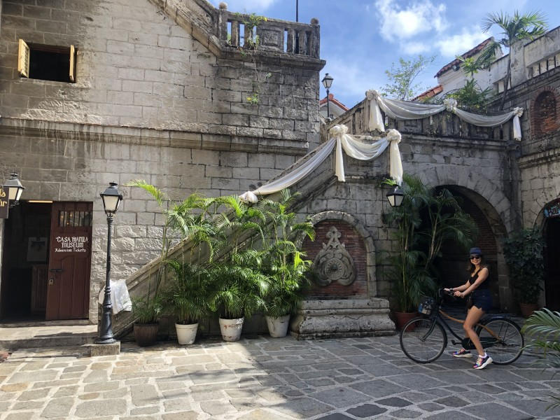 We rented bikes to tour the traditional and historic homes that have been preserved in the city of Manila