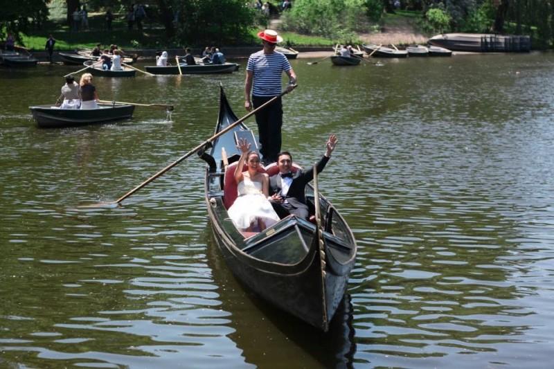 Our grand entrance was through a gondola gliding through the pond to The Boathouse