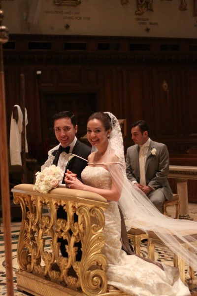 Pam and Hugo bound by love and commitment in front of God and their loved ones through the symbolic veil and cord.