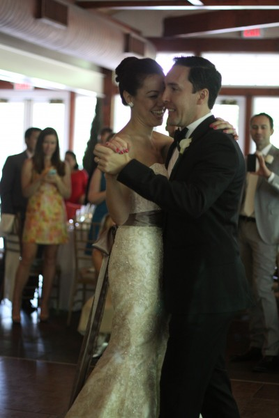 Our first dance. We tried to laugh to keep from crying because it was such an emotional moment for us.
