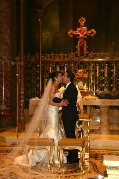 Our first kiss as a married couple