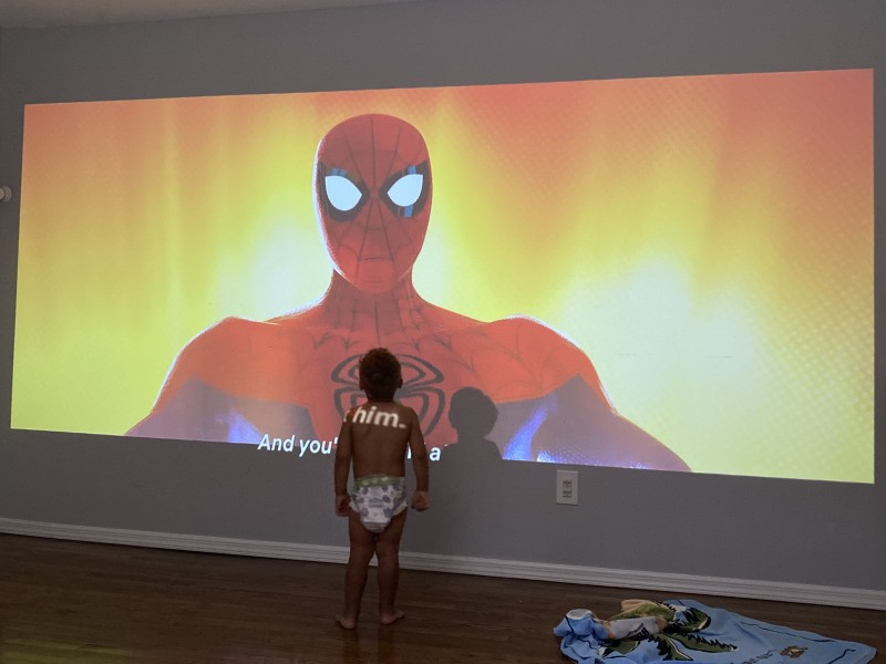 Wall projector for movie night!