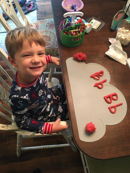 "G is learning the letter ""B"" and it's sound."