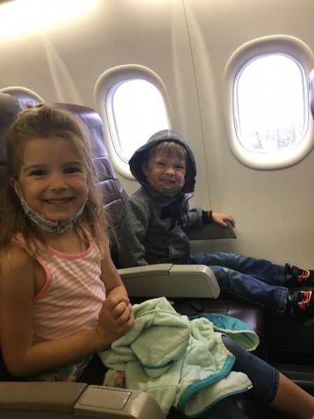 Our little travelers! They can hardly wait to see their friends.