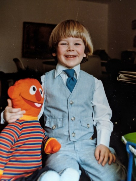 Chris at seven. He always loved the muppets.