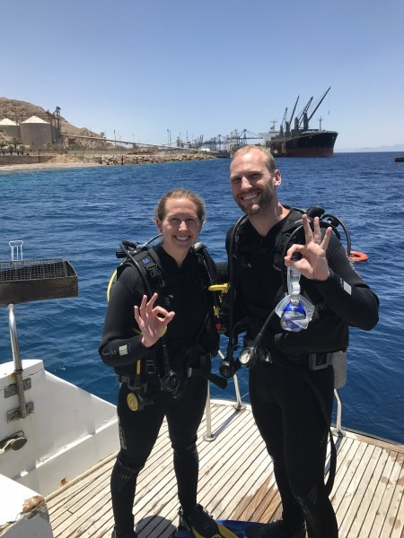 Scuba diving in the red sea in aqaba - jordan 2017
