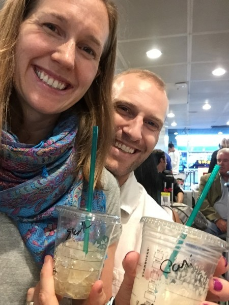 We love our coffee and collect starbucks mugs from our travels, here we are in egypt! 2016
