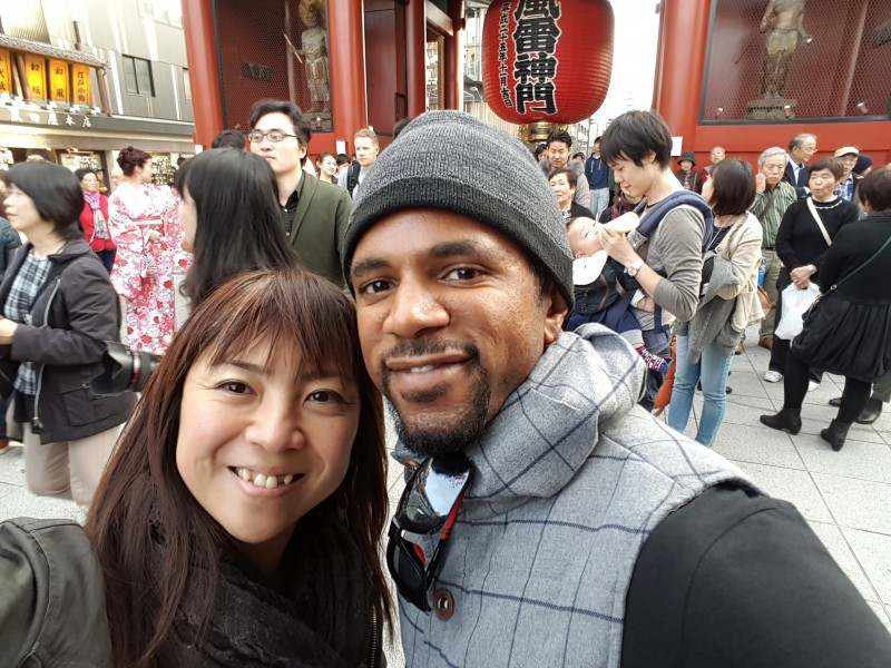 In front of the famous Kaminarimon gate in Asakusa