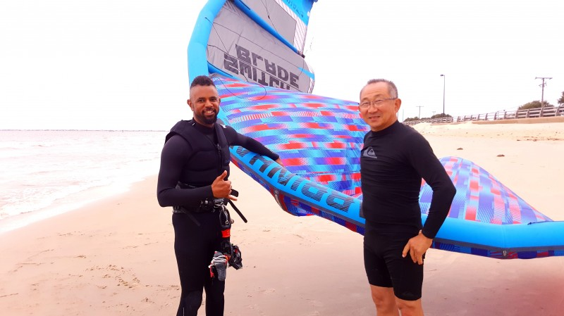Ayano's dad trying out kiteboard