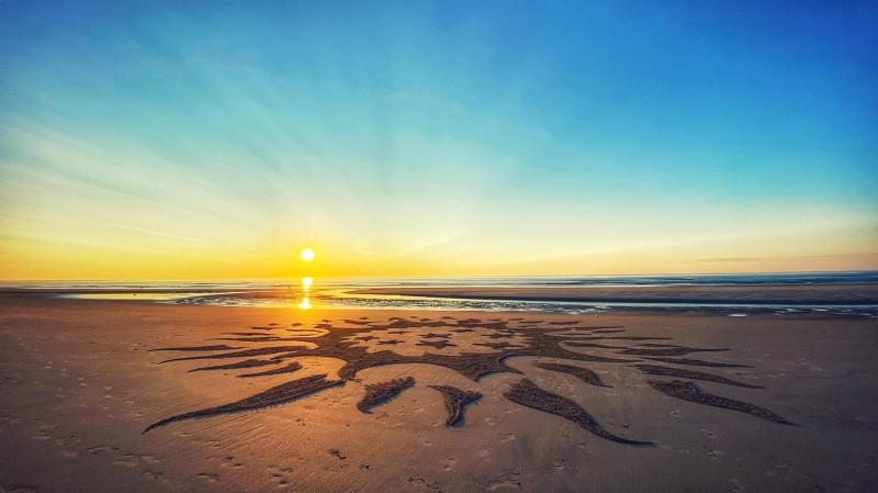 Morning beach art at Ogunquit Beach