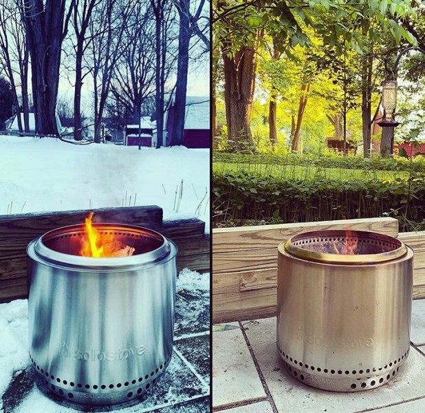 Backyard fires in the winter and summer