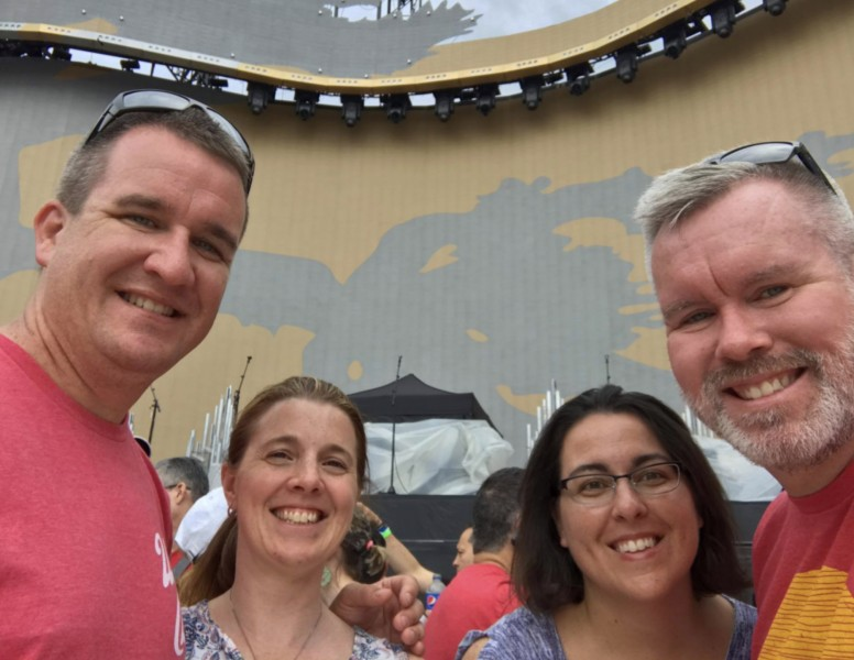 Front row at a concert in Boston with John's brother Scott and sister-in-law Colleen