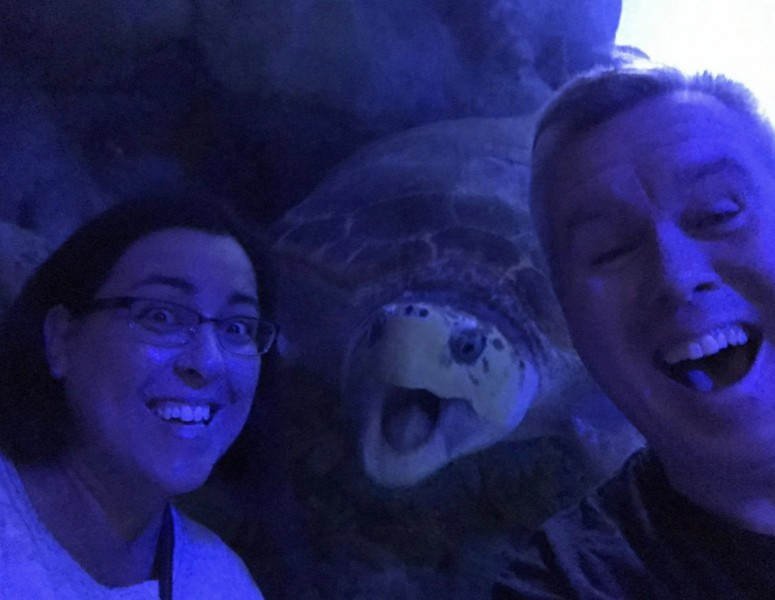 Mall of America Selfie with a tortoise who was as excited as we were