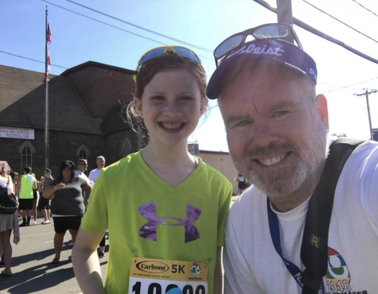 John ran into his niece Maura after the Boilermaker Road Race