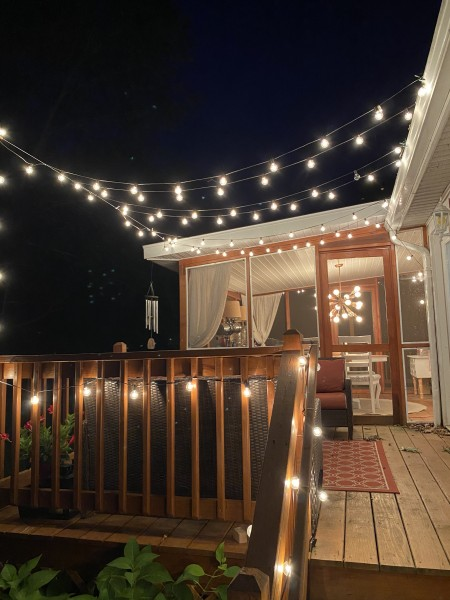 The back deck at night